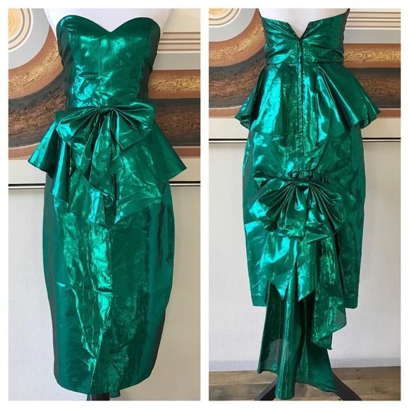 03c9b1fdf25 🌈🤩Vintage 80s Metallic Green Mermaid Dress XS🌈.  M 5a934e323316274e46f9e2cd